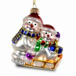 SIKORA Colored Glass Christmas Tree Decoration / Snowman with Sledge