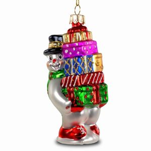 SIKORA Colored Glass Christmas Tree Decoration / Snowman with Presents