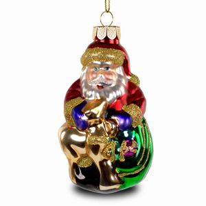 SIKORA Colored Glass Christmas Tree Decoration / Santa Claus with Deer