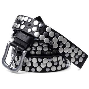CASPAR Womens Vintage Style Leather Belt with Studs - many colours - GU224