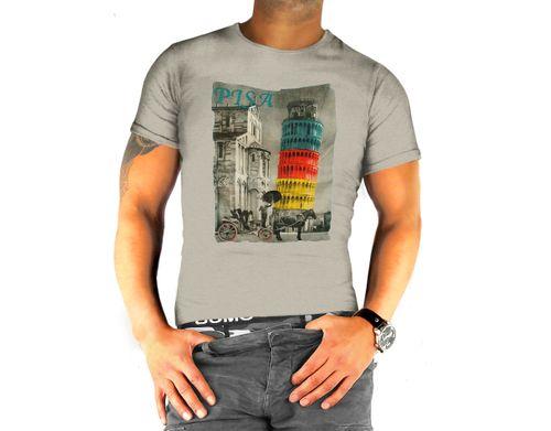 Herren  kurzarm T-Shirt uni mit Motiv 100% Baumwolle Rundhals Ausschnitt figurbetont