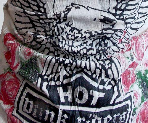 Damen Langarm Knitter Shirt Batik mit Adler Blumen Motiv Knopfleiste leicht tailliert beige