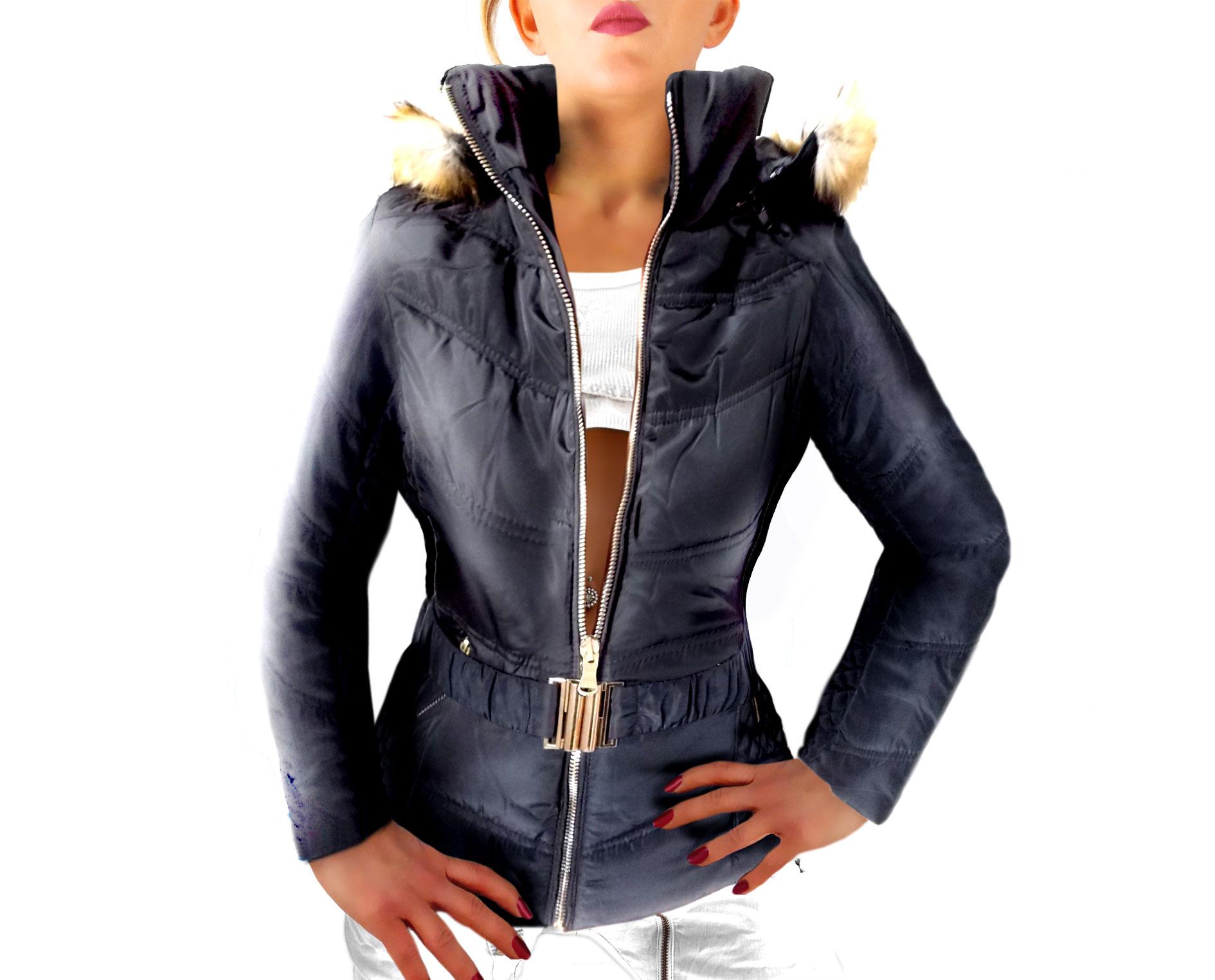 pretty nice 66069 dcf21 Damen Blouson Jacke kurzer taillierter Schnitt mit Stretch Gürtel und  Kapuze mit Kunstfellrand abnehmbar schwarz