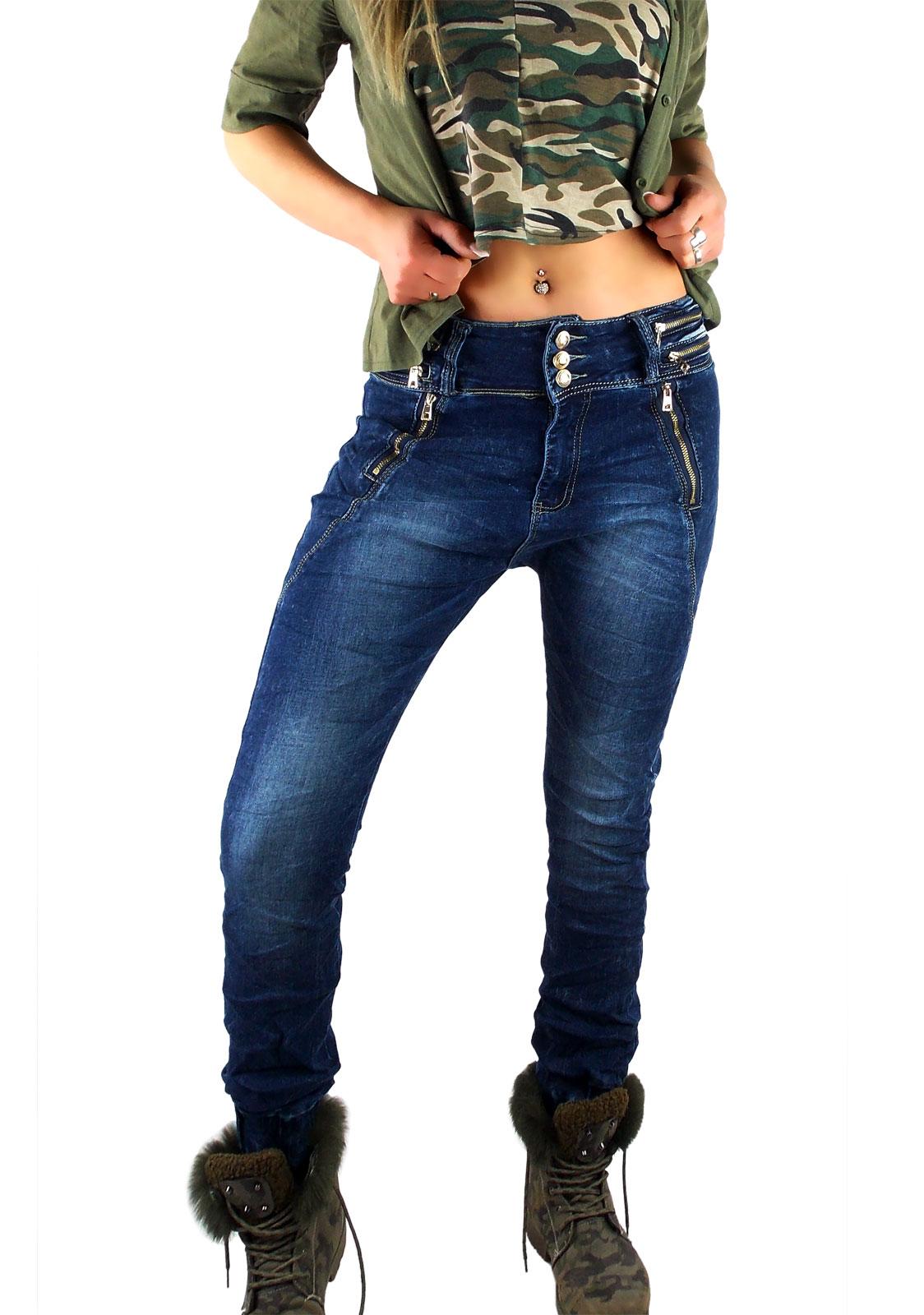 Damen Jogg Jeans Hose Harem Chino Aladin in dunkelblau mit goldfarbenen Reißverschlüssen