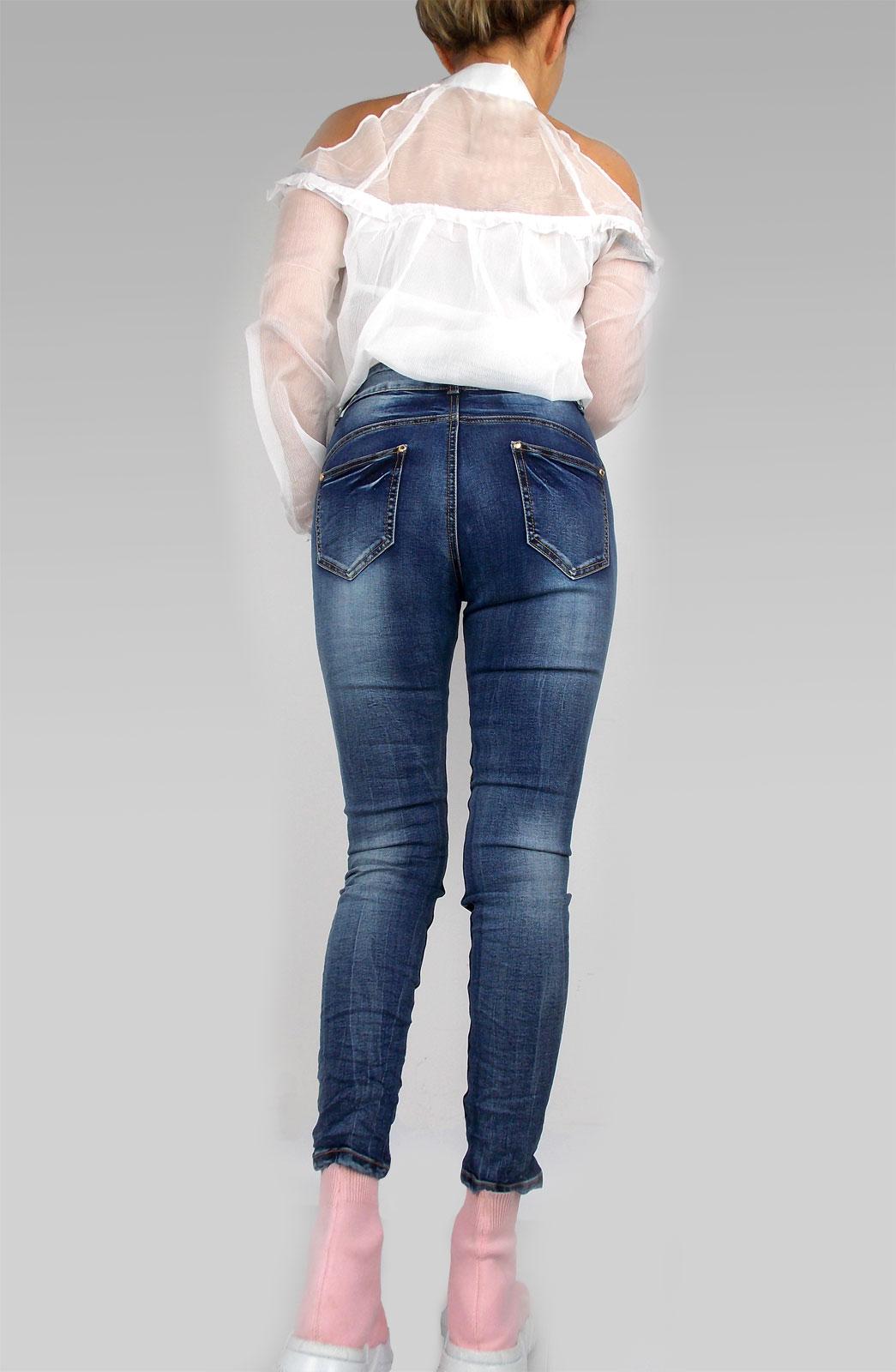 Damen Jeans Hose in dunkelblau Used High Waist oder Baggy goldfarbene Knöpfe Stretch mit Beintaschen