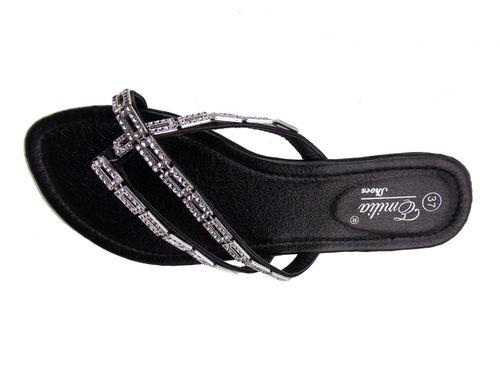 low priced 3973b 6e2af Details zu Edle Damen Sommer Schuhe Zehtrenner Sandalen offen flach  Strassverziert schwarz