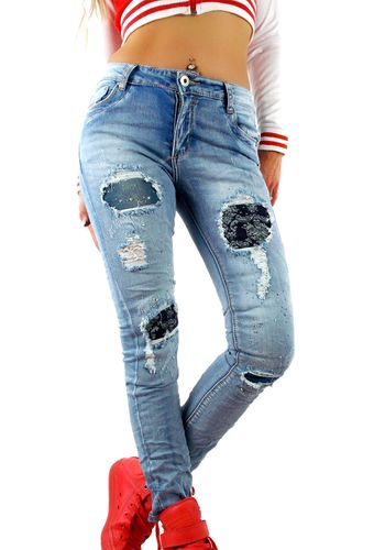 Damen Denim Jeanshose mit Ornament-Flicken Stretch Distressed blau verwaschen used Effekt extrem zerfranst