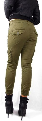 Damen Jogg-Jeans Hose Joggstyle Safari Cargo Look Army Military Bundeswehr khaki Stretch