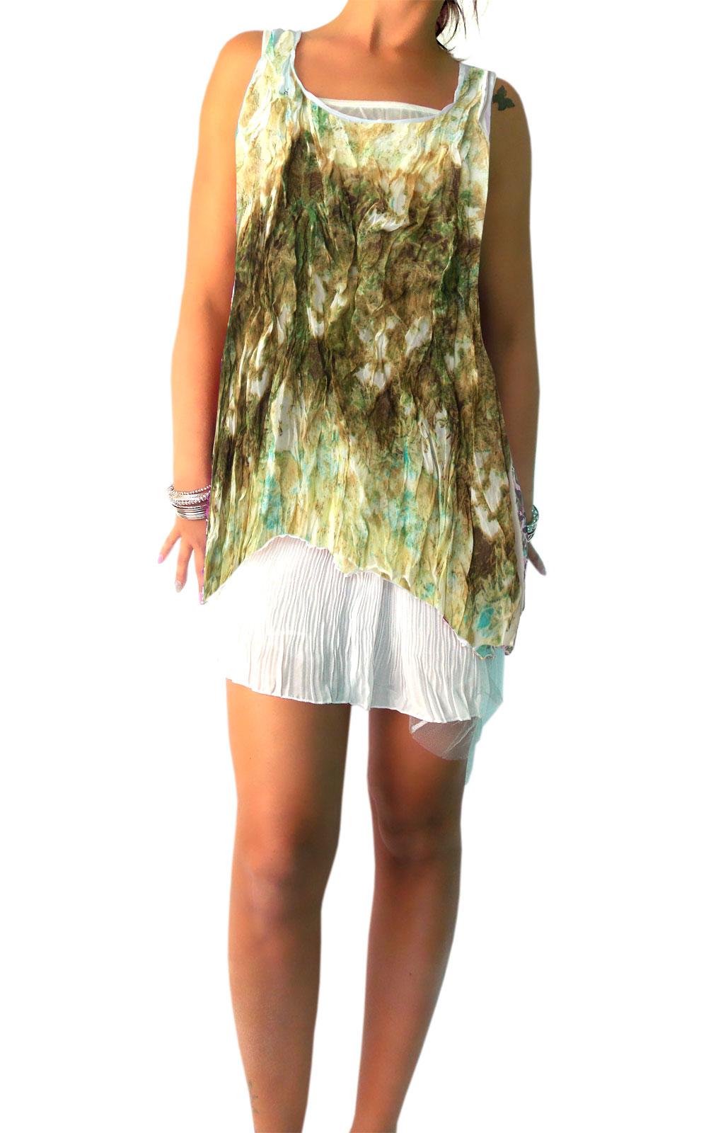 Damen Romantik Minikleider Nostalgie Knitteroptik geblümt mit Tüll  Unterkleid (15 Teilig)