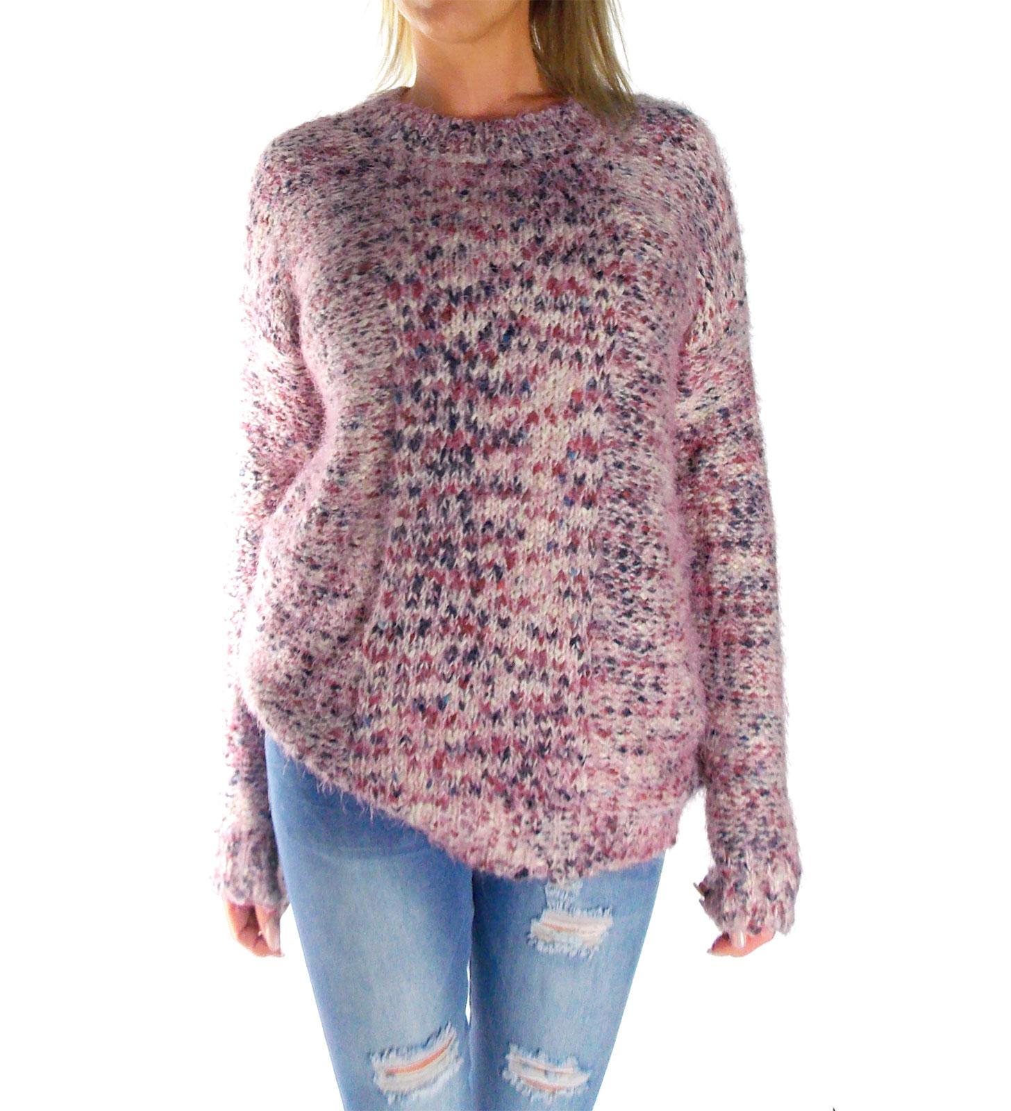 online store 7ce18 a2680 Damen Langarm Grob-Strick-Pullis in rosa meliert kuschelweich vorne kurz  hinten lang