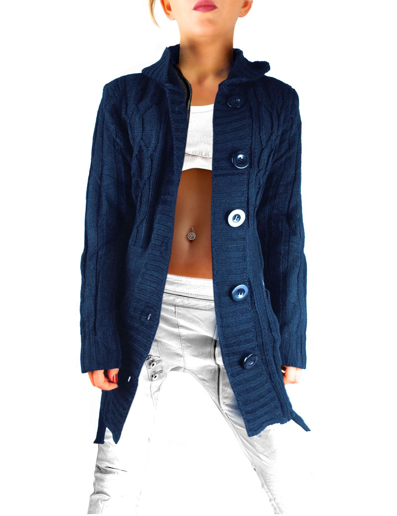 purchase cheap c2204 1b4a3 Damen Strickjacke mit Kapuze und Taschen mit Bindegürtel zum knöpfen Zopf  Strickmuster