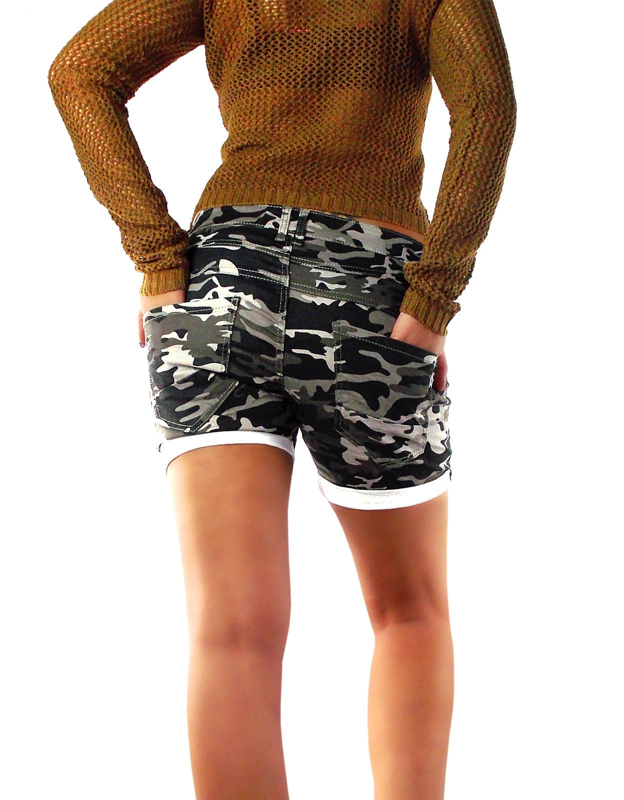 035d39809220d7 Damen Shorts kurze Hose Camouflage Military Tarn-Muster Army Bundeswehr  Style grün-grau Töne