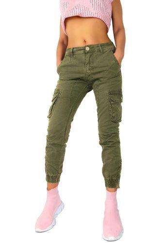Damen Jogg-Jeans Hose Joggstyle Safari Cargo Army Military Bundeswehr grün oliv