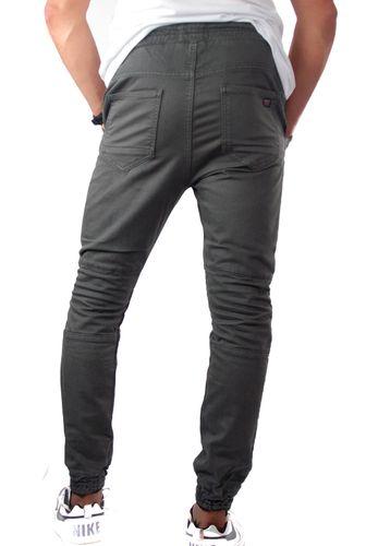 Herren Cargo Jogg-Jeans dunkelgrau mit Gummibund und Beinabschluss