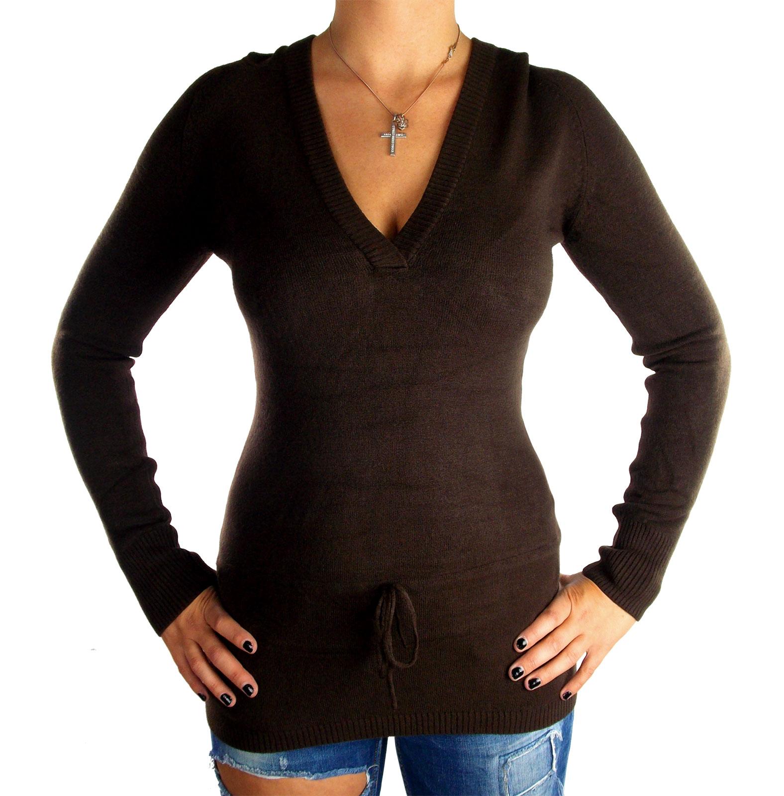 sale retailer 51ba1 ebeec Damen Feinstrick Long Pullis Pullover mit Kapuze Hüftlang eng Stretch  figurbetont V-Ausschnitt in verschiedenen Farben