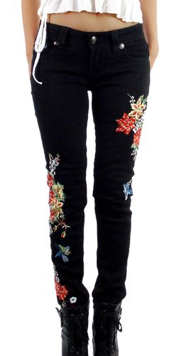 Damen Skinny Jeans Hose schwarz edles Design mit bunten Blumen Stickereien Stretch