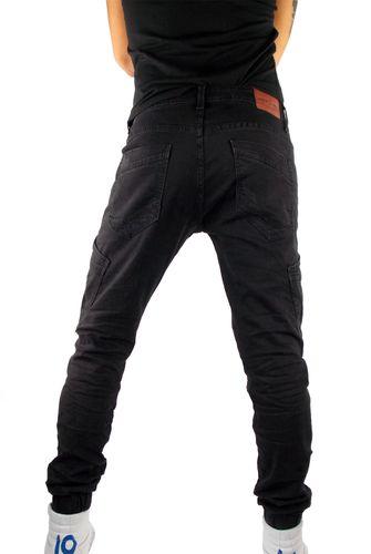 Herren Jogg Jeans Hose Biker Cargo Style in schwarz used zerschlissen mit Seitentaschen neu