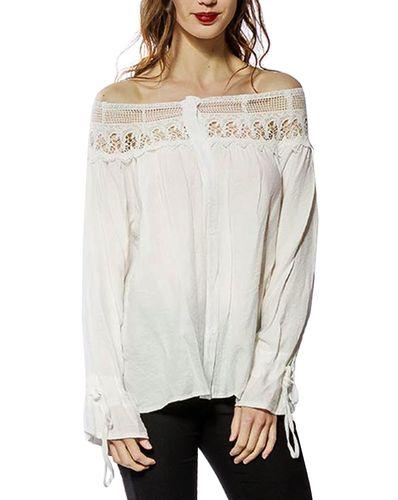 Damen Langarm Bluse weit geschnitten mit Knopfleiste Schulterfrei mit weitem Rüschen Kragen in weiß