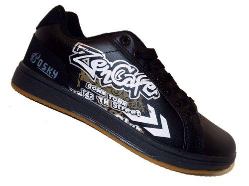 Herren Schuhe Skater- Halbschuhe Schnürer Streetstyle Leder Optik schwarz mit Graffiti