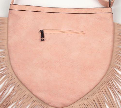 [Paket] Damen Fransen Handtasche Schultertasche in Herzform Leder-Imitat mit edler Stickerei rosa
