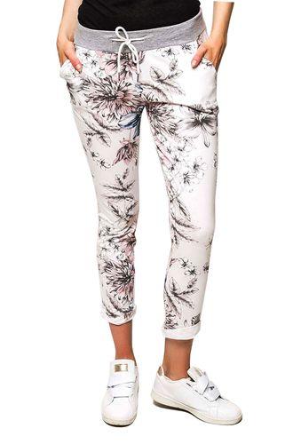 Damen Freizeit Jogginghose in weiß geblümt mit Rippbund grau und Schnürband Einheitsgröße