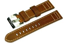 Brown genuine leather strap with light seam 22mm L