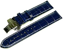 MARC & SONS genuine leather strap blue 20 mm - L6
