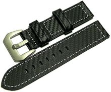 Black genuine leather strap in carbon look 22mm white seam
