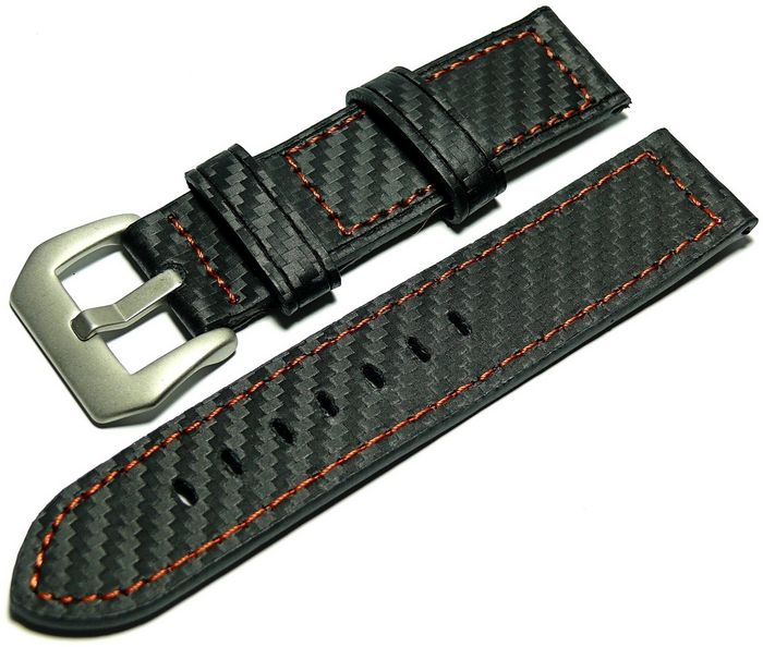 MARC & SONS Lederband schwarz Carbon Optik 22 mm orange Naht