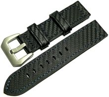 Black genuine leather strap in carbon look 22mm blue seam