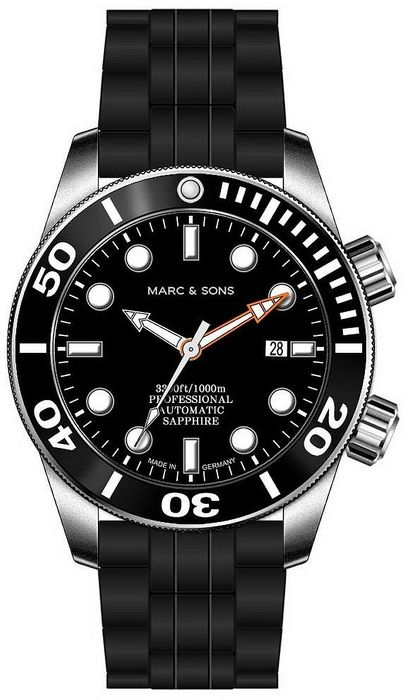 MARC & SONS diver watch PROFESSIONAL MOD BGW9 MSD-028-7K1