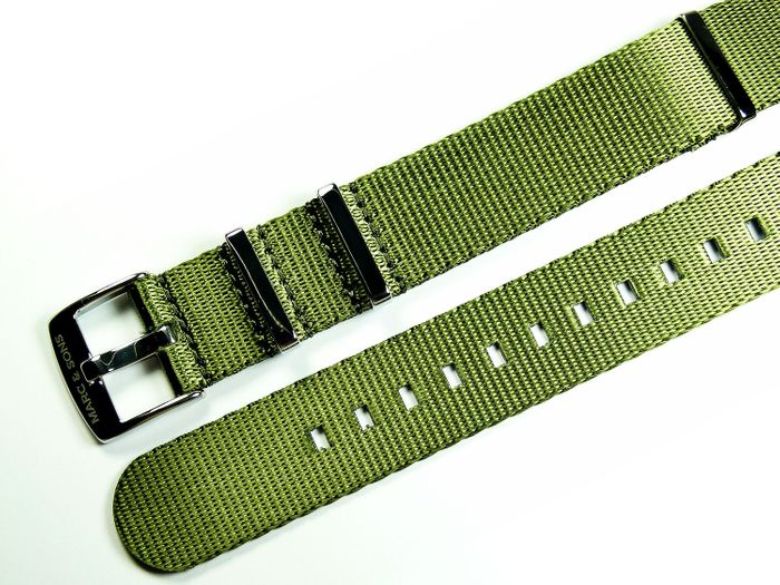 MARC & SONS Herringbone Nato strap color olive green, 22 mm, Reference T1