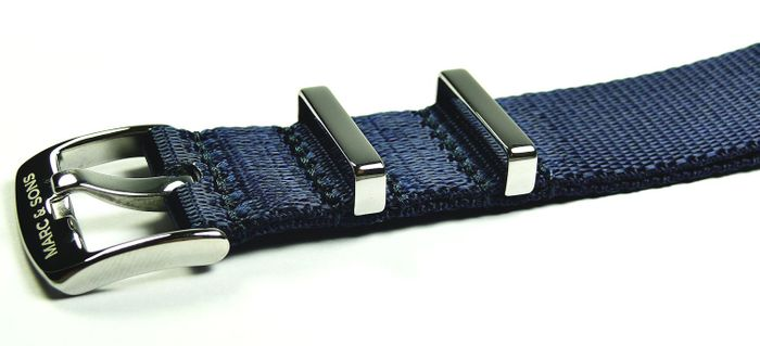 MARC & SONS Herringbone Nato strap color blue, 22 mm Reference T4