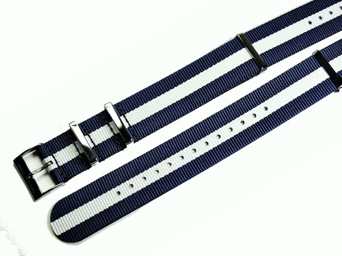 MARC & SONS Nato strap color blue white, 22 mm, Reference T6