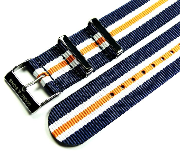 MARC & SONS Nato strap color blue white orange, 22 mm, Reference T7