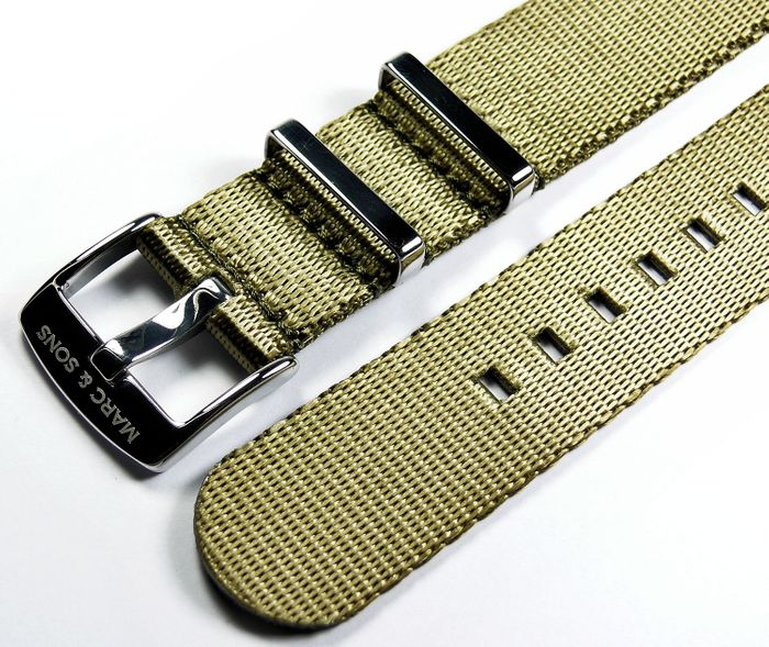 MARC & SONS Herringbone Nato strap color army green, 22 mm