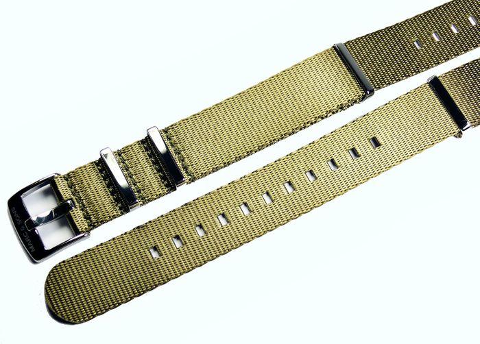 MARC & SONS Herringbone Nato-Durchzugsband Farbe army grün 22 mm, T8