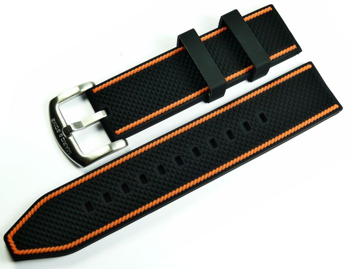 MARC & SONS Kautschukband schwarz orange 22 mm Referenz K5