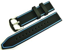 MARC & SONS Rubber strap black blue, 22 mm, Reference K6
