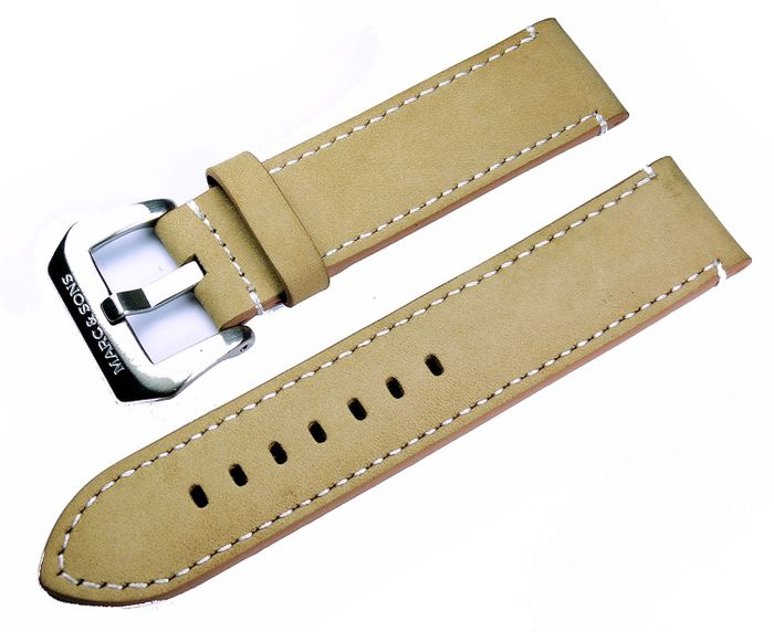 Beige genuine leather strap with white seam,  22mm, Reference L7