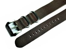 Darkbrown genuine leather zulu strap, 22mm, Reference L12
