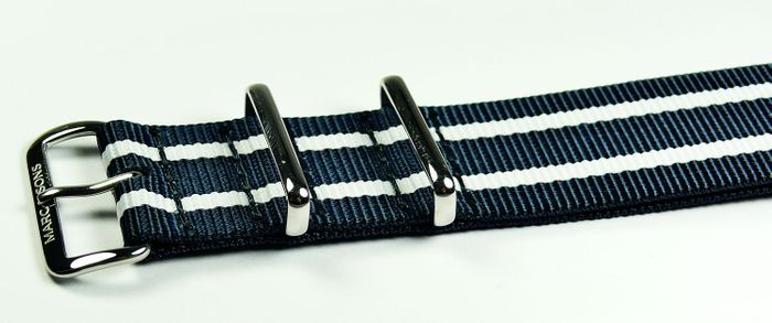 MARC & SONS Nato strap color blue white, 22 mm, Reference T9
