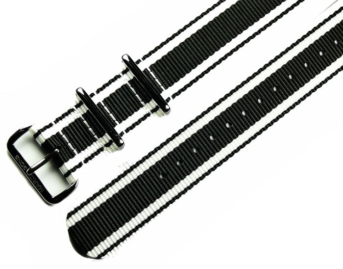 MARC & SONS Nato strap color black white, 22 mm, Reference T12
