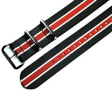 MARC & SONS Nato strap color black white red, 22 mm, Reference T17