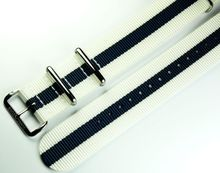 MARC & SONS Nato strap color white blue, 22 mm, Reference T18