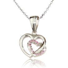 Damenkette 925 Sterling Silber rhodinert Zirkonia Herz - SSI-006