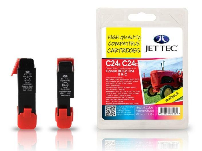 Jet Tec Set C14B C15C Canon BCI-21/24 BK und Colour Multipack