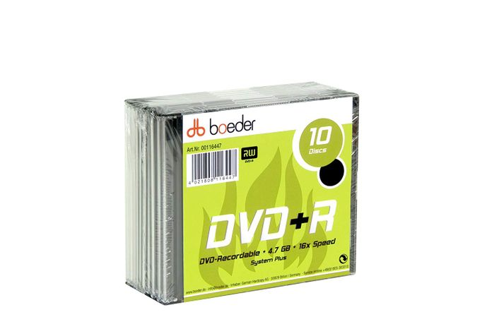boeder DVD+R 4,7GB 16x 10er Pack Slim Case
