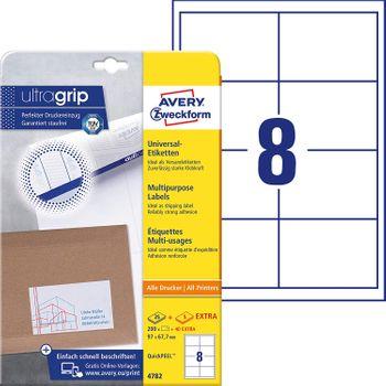 AVERY Zweckform 4782 Universal Etiketten (A4 mit ultragrip 97 x 67,7 mm, 30 Blatt, Papier matt, bedruckbar, selbstklebend, 240 Klebeetiketten) weiß - rundum QuickPEEL
