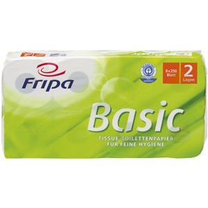 Fripa Toilettenpapier Basic 2 lagig 250 Blatt 8 St./Paket Recycling Qualität